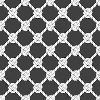 Malha de corda diagonal sem costura - padrão de grade de corda