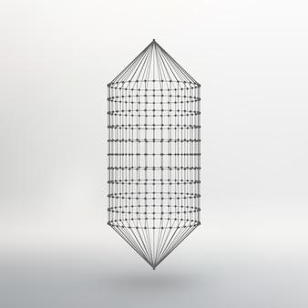 Malha de estrutura de arame cápsula poligonal. a cápsula das linhas conectadas aos pontos. estrutura atômica. tanque de solução construtiva de condução. ilustração vetorial eps10.