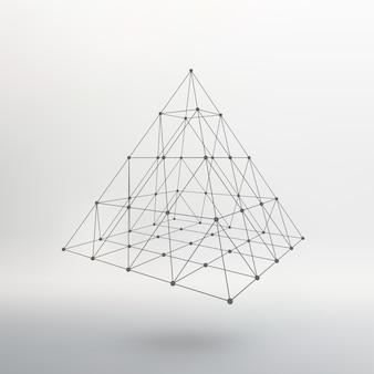 Malha de estrutura de arame pirâmide poligonal pirâmide das linhas conectadas aos pontos
