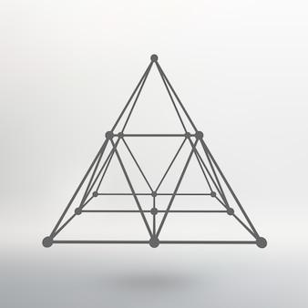Malha de estrutura de arame pirâmide poligonal pirâmide das linhas pontos conectados rede atômica