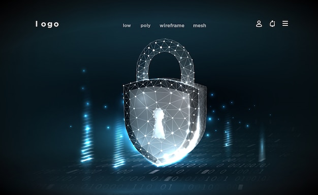 Malha de estrutura de arame poligonal. conceito de segurança cibernética, proteção. ilustra a segurança de dados cibernéticos ou a idéia de privacidade de informações. resumo oi tecnologia de internet de velocidade.