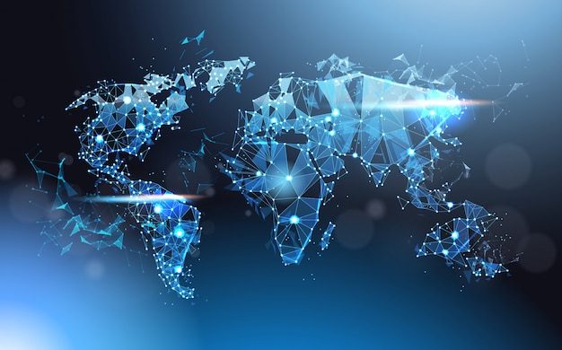 Malha de incandescência do wareframe do mapa do mundo poligonal, curso global e conceito internacional da conexão