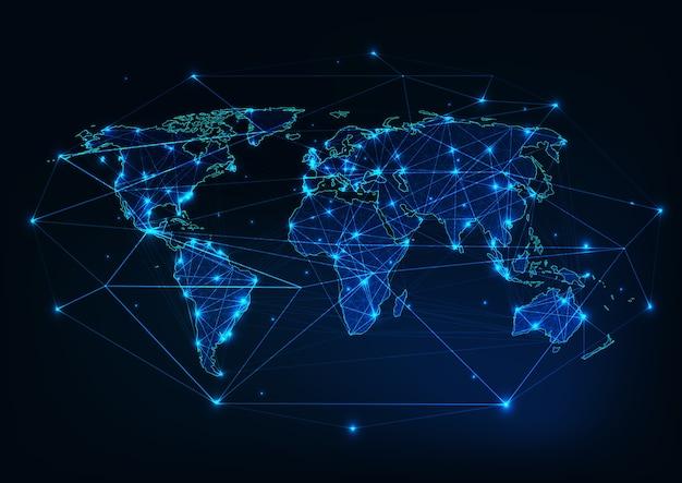 Malha de mapa do mundo com contorno de continentes feito de linhas, pontos, estrelas, triângulos.
