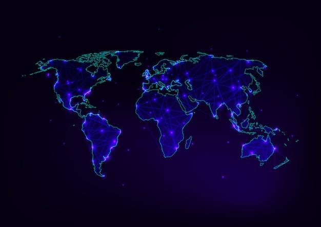 Malha de mapa do mundo com contorno de continentes feito de linhas