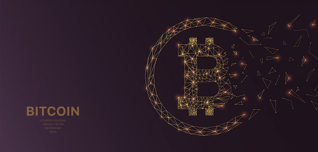 Malha de wireframe poligonal futurista com bitcoin