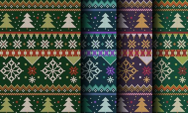 Malha decorativa padrão de natal sem costura