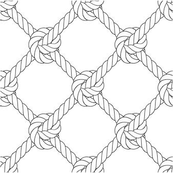 Malha diagonal de corda - nós e padrão sem emenda de corda