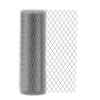 Malha do elo de corrente que cerca com o ilhó sextavado, rede do rabitz do metal na ilustração realística do vetor do rolo 3d isolada. cerca, material de construção de barreira tecido de arame de aço