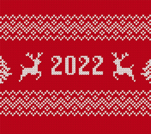 Malha natal 2022 estampado com veados, árvore. padrão sem emenda. vetor. fundo de suéter vermelho