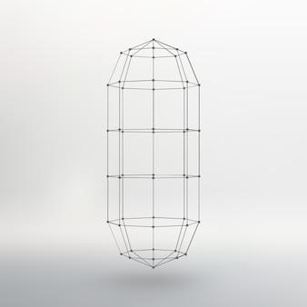 Malha wireframe cápsula poligonal a cápsula das linhas conectadas aos pontos