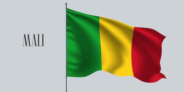 Mali agitando bandeira no mastro da bandeira
