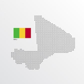 Mali map design com bandeira e luz de fundo vector