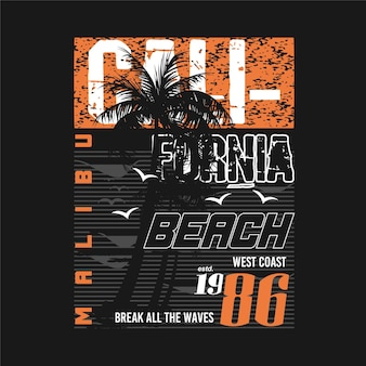 Malibu beach califórnia tropical sunset surf rider long beach vector t shirt print tipografia