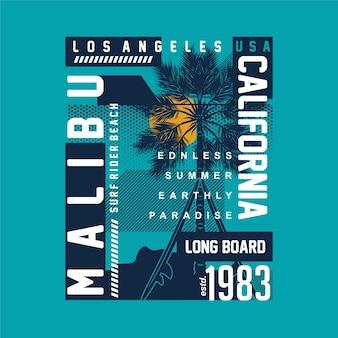 Malibu praia califórnia pôr do sol tropical vetor camiseta imprimir gráfico de tipografia