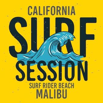Malibu surf rider beach califórnia surf tipo tipográfico etiqueta de sinal de design para anúncios de promoção camiseta ou adesivo imagem do folheto poster.