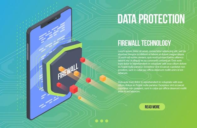 Malware de segurança de verificação de vírus. ilustração em vetor plana isométrica escudo guarda. crime cibernético e proteção de dados. proteção de banco de dados e smartphone.