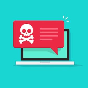 Malware ou fraude internet spam notificação no computador portátil vector plana dos desenhos animados
