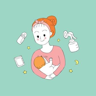 Mamã bonito dos desenhos animados e vetor de alimentação do bebê.