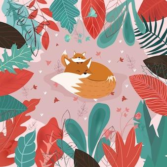 Mamã bonito e raposa do bebê na floresta tropical.