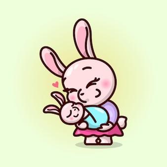 Mamã de coelho feliz da cara que carrega seu bebê. ilustração do dia de valentim.