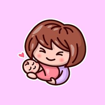Mamã de personagens bonitos carregando seu bebê com cara de sorriso feliz. ilustração do dia de valentim.