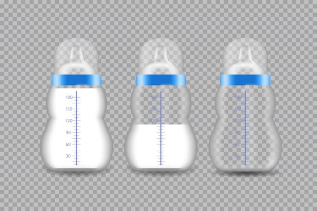 Mamadeira transparente realista com um leite. ilustração.