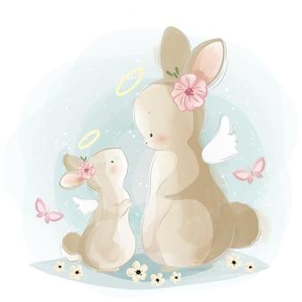 Mamãe angelical e bebê coelho
