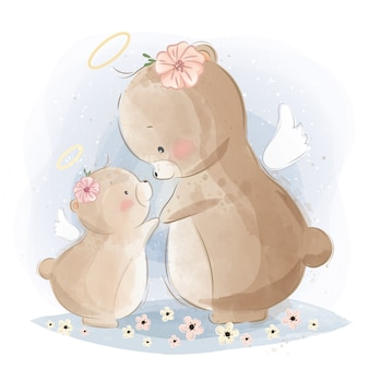 Mamãe angelical e bebê urso