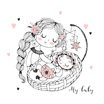 Mamãe coloca o bebê para dormir no berço.