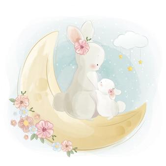 Mamãe e bebê bunny em pé na lua