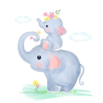 Mamãe e bebê elefante brincam juntos