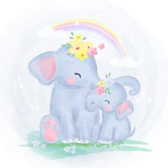 Mamãe e bebê elefante juntos