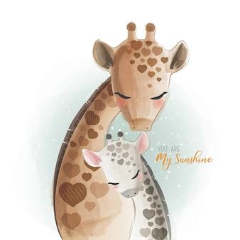Mamãe e bebê girafa - você é meu raio de sol