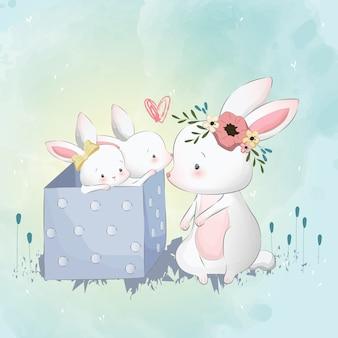 Mamãe e crianças coelho