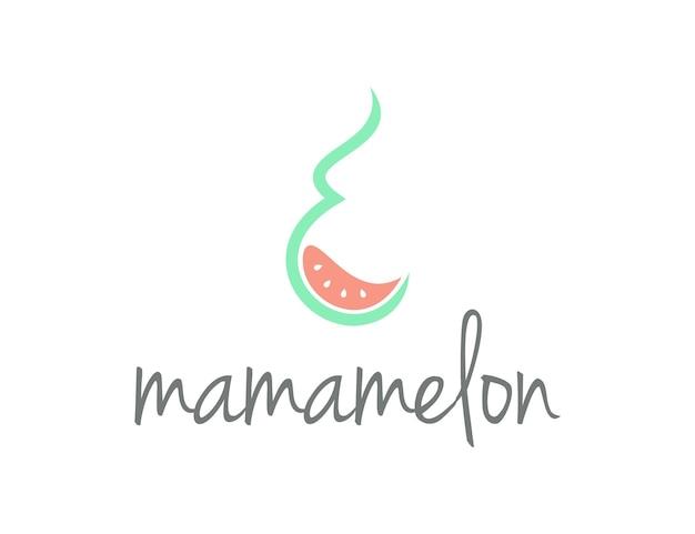 Mamãe e melancia abstrato simples, elegante, criativo, geométrico, moderno, logotipo, design