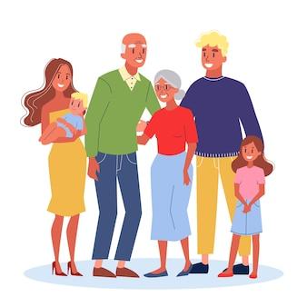Mamãe e papai, filhos e seus avós