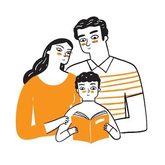 Mamãe e papai observam seu adorável filho lendo um livro.