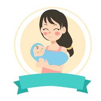 Mamãe e seu bebê recém-nascido