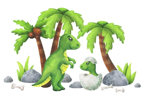 Mamãe é um tiranossauro com um filhote em um ovo. dinossauros verdes na selva