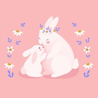 Mamãe fofa e bebê coelho