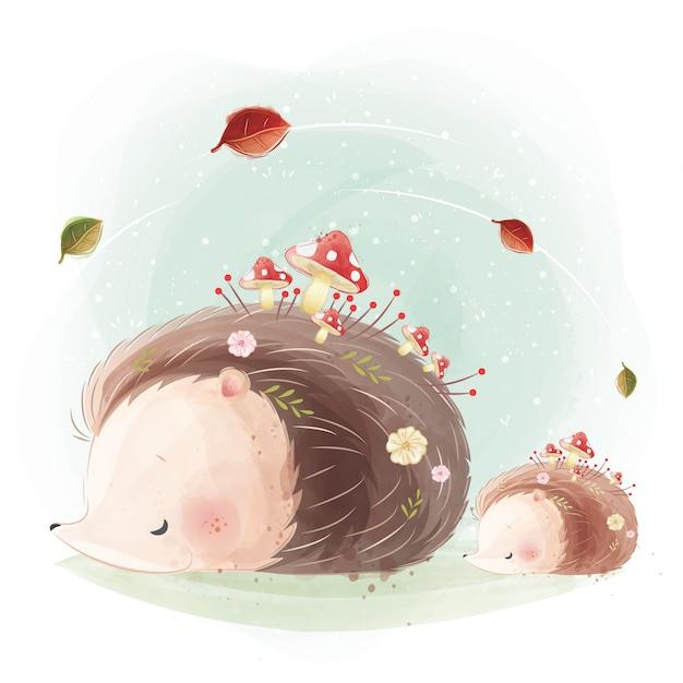 Mamãe fofa e bebê hedgehog com crescente cogumelo em seus corpos
