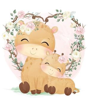 Mamãe fofa e girafa bebê em aquarela