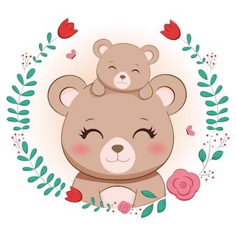 Mamãe urso fofo e bebê urso