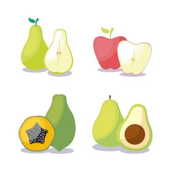 Mamão com conjunto de frutas saudáveis