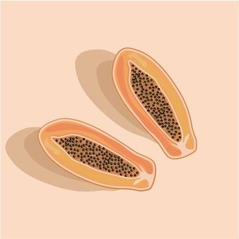 Mamão de frutas tropicais, cortado ao meio com sementes e sombras. comida de dieta tropical asiática exótica.