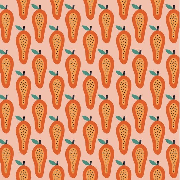 Mamão padrão de fundo mídia social postar ilustração vetorial de frutas