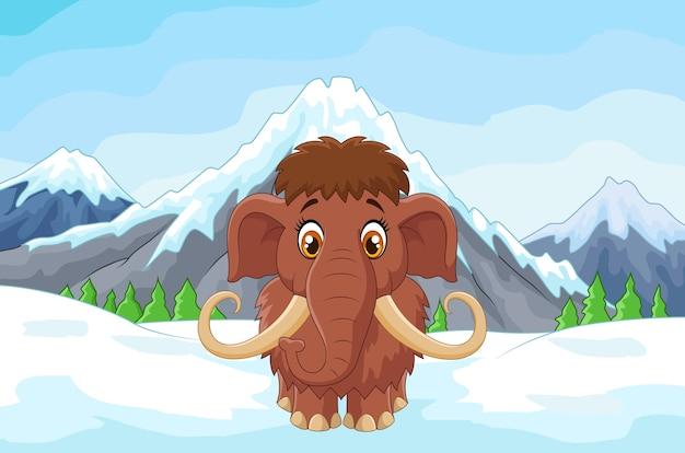 Mamouth dos desenhos animados na montanha de gelo Vetor Premium
