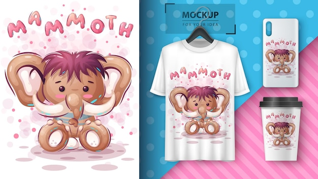 Mamute, ilustração de elefante e merchandising
