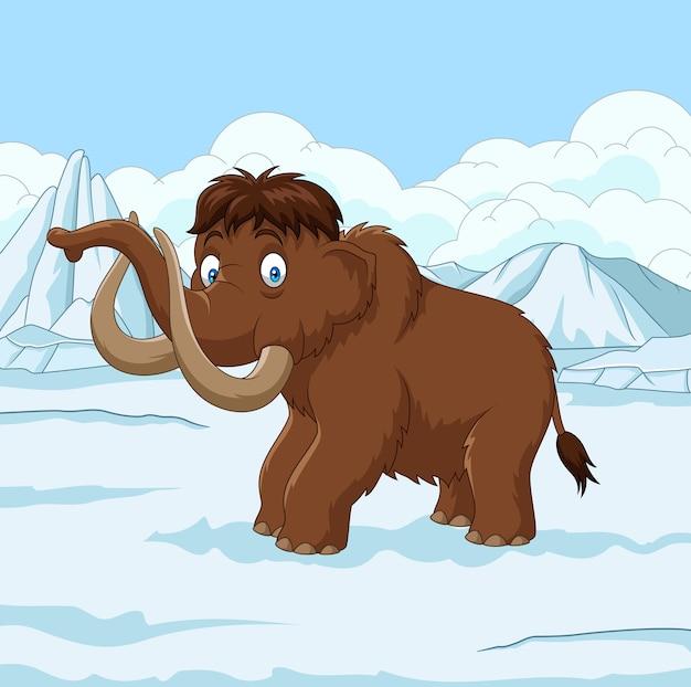 Mamute-lanoso dos desenhos animados andando por um campo nevado