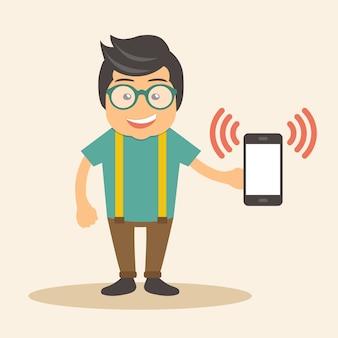 Man holding tocando telefone inteligente